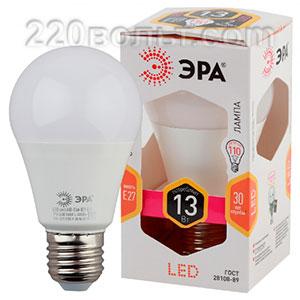 Лампа светодиодная ЭРА LED A60-13W-827-E27 (диод, груша, 13Вт, тепл, E27)