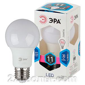Лампа светодиодная ЭРА LED A60-11W-840-E27 (диод, груша, 11Вт, нейтр, E27)