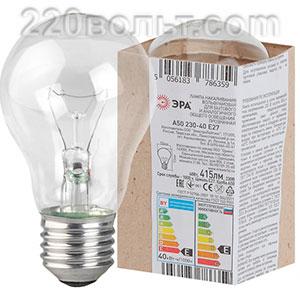 Лампа накаливания ЭРА A50 (груша) 40Вт230В Е27в гофре
