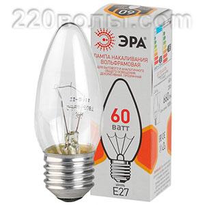 Лампа накаливания ЭРА ДС (B36) свечка 60Вт 230В E27 цв. упаковка
