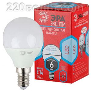 Лампа светодиодная ЭРА ECO LED P45- 6W-840-E14 (диод, шар, 6Вт, нейтр, E14)