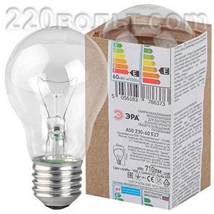 Лампа накаливания ЭРА A50 (груша) 60Вт 230В Е27 в гофре