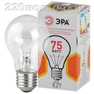 Лампа накаливания ЭРА A50 груша 75Вт 230В Е27 цв. упаковка
