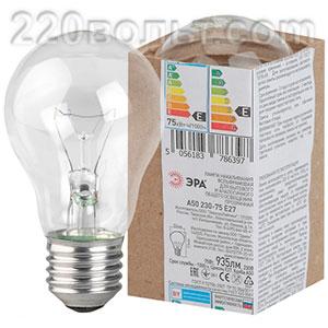 Лампа накаливания ЭРА A50 (груша) 75Вт 230В Е27 в гофре