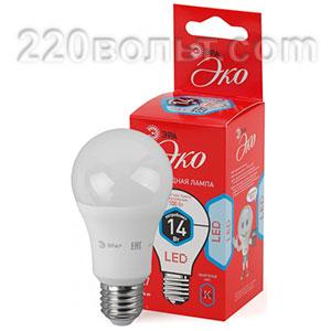 Лампа светодиодная ЭРА ECO LED A60-14W-840-E27 (диод, груша, 14Вт, нейтр, E27)