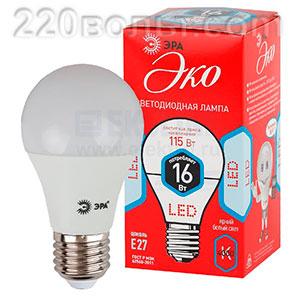 Лампа светодиодная ЭРА ECO LED A60-16W-840-E27 (диод, груша, 16Вт, нейтр, E27)