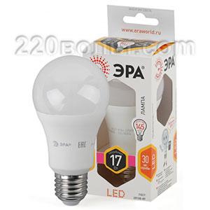 Лампа светодиодная ЭРА LED A60-17W-860-E27 (диод, груша, 17Вт, хол, E27)
