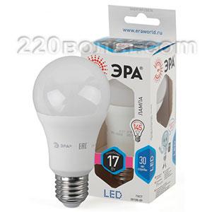 Лампа светодиодная ЭРА LED A60-17W-840-E27 (диод, груша, 17Вт, нейтр, E27)