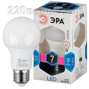 Лампа светодиодная ЭРА LED A60- 7W-840-E27 (диод, груша, 7Вт, нейтр, E27)