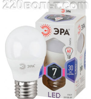 Лампа светодиодная ЭРА LED A60- 7W-860-E27 (диод, груша, 7Вт, хол, E27)