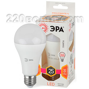 Лампа светодиодная ЭРА LED A65-25W-827-E27 (диод, груша, 25Вт, тёпл, E27)