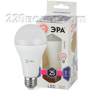 Лампа светодиодная ЭРА LED A65-25W-860-E27 (диод, груша, 25Вт, хол, E27)