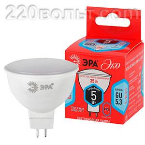 Лампа светодиодная ЭРА ECO LED MR16- 5W-840-GU5.3 (диод, софит, 5Вт, нейтр, GU5.3)
