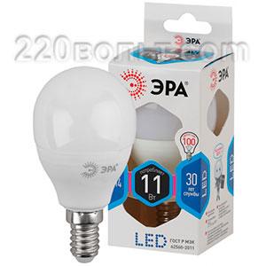 Лампа светодиодная ЭРА LED P45-11W-840-E14 (диод, шар, 11Вт, нейтр, E14)