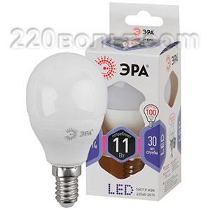 Лампа светодиодная ЭРА LED P45-11W-860-E14 (диод, шар, 11Вт, хол, E14)