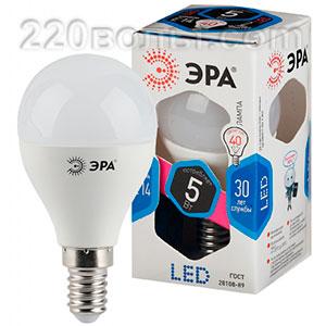 Лампа светодиодная ЭРА LED P45- 5W-840-E14 (диод, шар, 5Вт, нейтр, E14)
