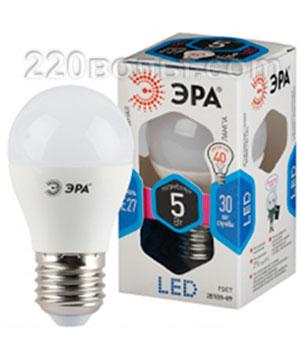 Лампа светодиодная ЭРА LED P45- 5W-840-E27 (диод, шар, 5Вт, нейтр, E27)