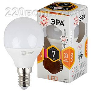 Лампа светодиодная ЭРА LED P45- 7W-827-E14 (диод, шар, 7Вт, тепл, E14)
