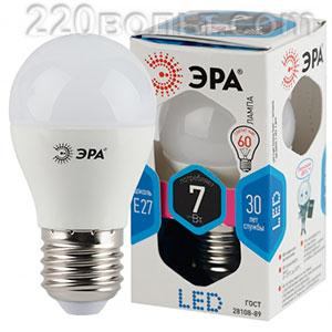 Лампа светодиодная ЭРА LED P45- 7W-840-E27 (диод, шар, 7Вт, нейтр, E27)