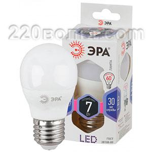 Лампа светодиодная ЭРА LED P45- 7W-860-E27 (диод, шар, 7Вт, хол, E27)