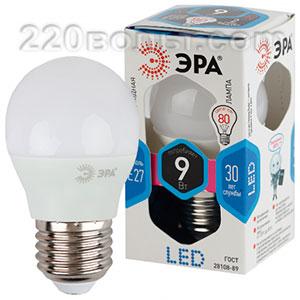Лампа светодиодная ЭРА LED P45- 9W-840-E27 (диод, шар, 9Вт, нейтр, E27)