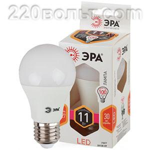 Лампа светодиодная ЭРА LED A60-11W-827-E27 (диод, груша, 11Вт, тепл, E27)