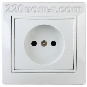 Intro Plano Розетка 2P 16А-250В (керам.+ поджим), IP20, СУ, белый 1-201-01