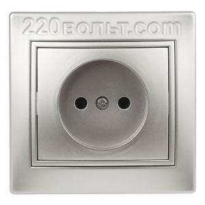Intro Plano Розетка 2P 16А-250В (керам.+ поджим), IP20, СУ, алюминий 1-201-03