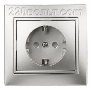 Intro Plano Розетка 2P+E Schuko, 16A-250В (керам.+ поджим) IP20, СУ, алюминий 1-202-03