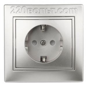 Intro Plano Розетка 2P+E Schuko, 16A-250В (керам.+ поджим) с шторками, IP20, СУ, алюминий 1-206-03