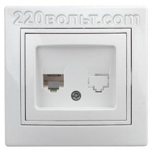 Intro Plano Розетка информацион RJ45, IP20, СУ, белый 1-303-01