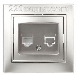 Intro Plano Розетка информацион RJ45, IP20, СУ, алюминий 1-303-03