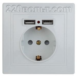 Intro Plano Розетка+USB, IP20, СУ, белый 1-410-01