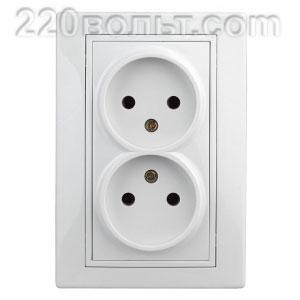 Intro Plano Розетка 2х2P, 16А-250В (керам.+ поджим), IP20, СУ, белый 1-204-01