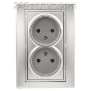 Intro Plano Розетка 2х2P, 16А-250В (керам.+ поджим), IP20, СУ, алюминий 1-204-03