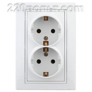 Intro Plano Розетка 2х2Р+E Schuko, 16A-250В (керам.+ поджим), IP20, СУ, белый 1-205-01