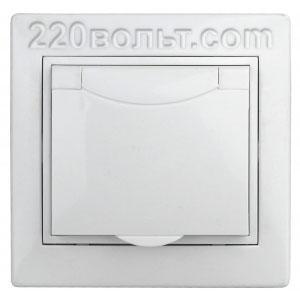 Intro Plano Розетка 2P+E Schuko, 16A-250В (керам.+ поджим) с крышкой, IP20, СУ, белый 1-203-01