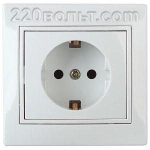 Intro Plano Розетка 2P+E Schuko, 16A-250В (керам.+ поджим) с шторками, IP20, СУ, белый 1-206-01