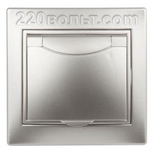 Intro Plano Розетка 2P+E Schuko, 16A-250В (керам.+ поджим) с крышкой, IP20, СУ, алюминий 1-203-03