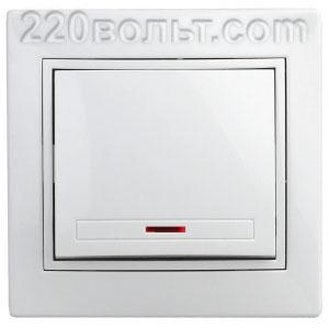 Intro Plano Выключатель с подсветкой 10А-250В, IP20, СУ, белый 1-102-01