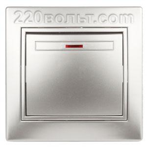 Intro Plano Выключатель с подсветкой 10А-250В, IP20, СУ, алюминий 1-102-03
