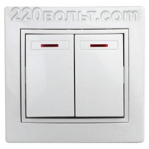 Intro Plano Выключатель двойной с подсветкой 10А-250В, IP20, СУ, белый 1-105-01