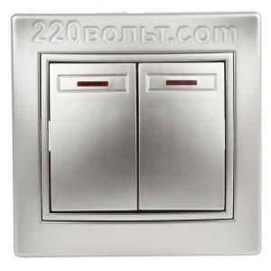 Intro Plano Выключатель двойной с подсветкой 10А-250В, IP20, СУ, алюминий 1-105-03