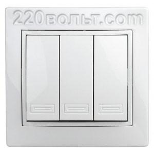Intro Plano Выключатель тройной 10А-250В, IP20, СУ, белый 1-106-01