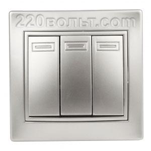 Intro Plano Выключатель тройной 10А-250В, IP20, СУ, алюминий 1-106-03