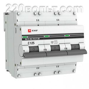 Автоматический выключатель ВА 47-100, 3P 50А (D) 10kA EKF PROxima