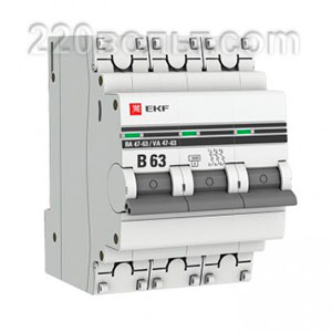 Автоматический выключатель ВА 47-63, 3P 63А (B) 4,5kA EKF PROxima