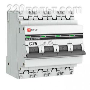 Автоматический выключатель ВА 47-63, 4P 25А (C) 4,5kA EKF PROxima