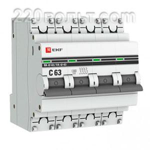 Автоматический выключатель ВА 47-63, 4P 63А (C) 4,5kA EKF PROxima