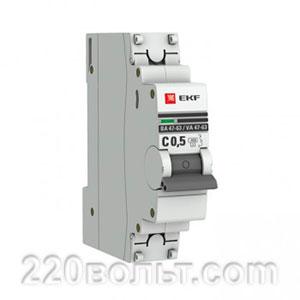 Автоматический выключатель ВА 47-63, 1P 0,5А (C) 4,5kA EKF PROxima